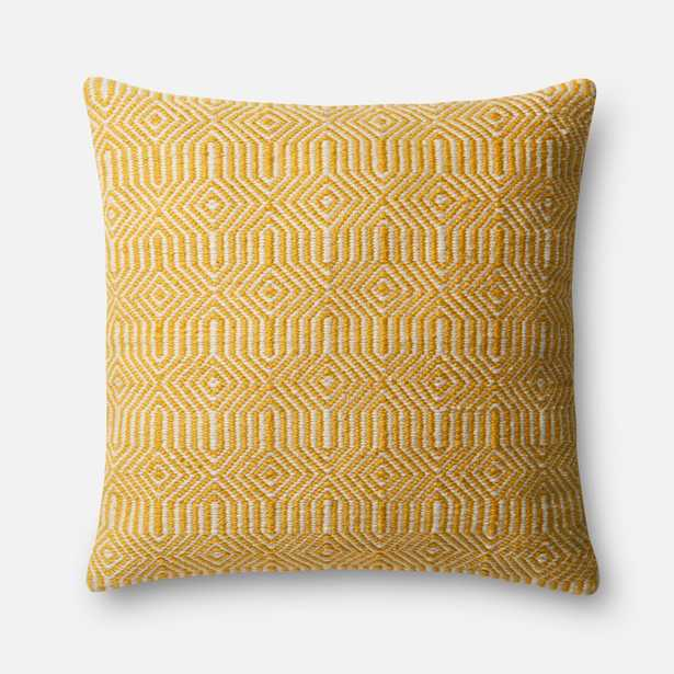 """PILLOWS - YELLOW / IVORY - 22"""" X 22"""" Cover w/Down - Loma Threads"""