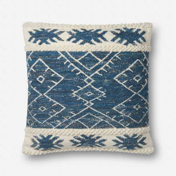 """P0619 PILLOWS - BLUE / IVORY - 22"""" X 22"""" Cover w/Down - Loma Threads"""