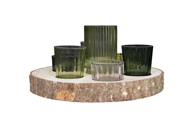Paulownia Wood Slice with 7 Glass Votive Holders (Set of 8 Pieces) - Nomad Home