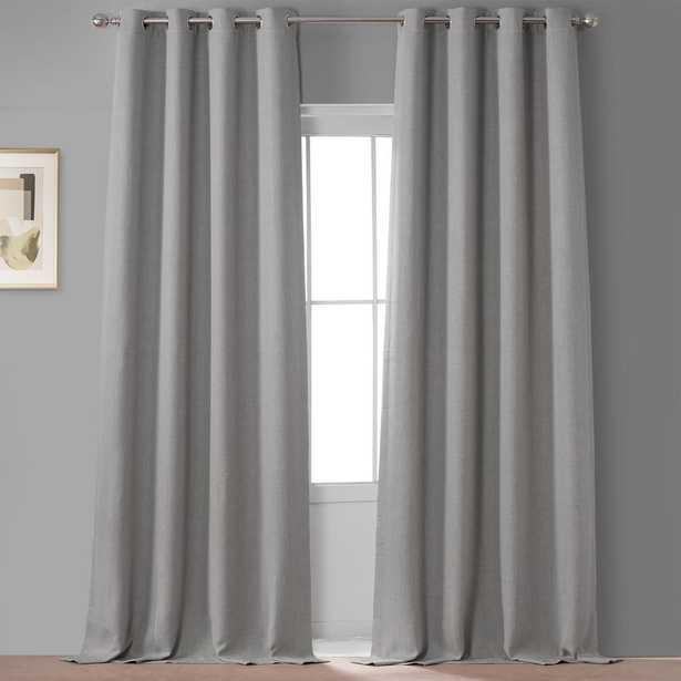Exclusive Fabrics & Furnishings Oatmeal Beige Faux Linen Grommet Blackout Curtain (Single Panel) - Home Depot