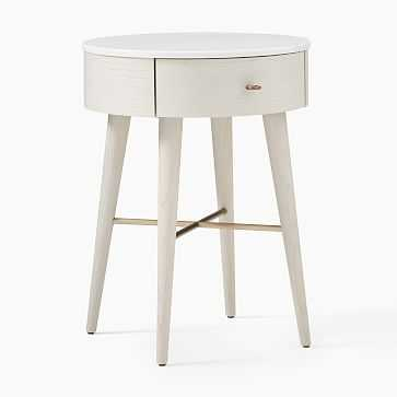 Penelope Nightstand, Marble, Feather Gray, Oil Rubbed Bronze-Individual - West Elm