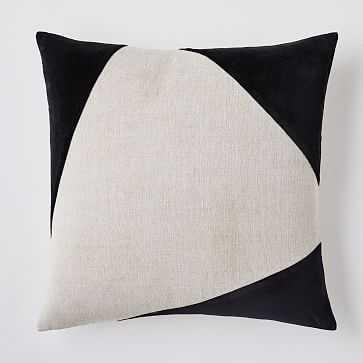 """Cotton Linen + Velvet Corners Pillow Cover, 24""""x24"""", Black, Set of 2 - West Elm"""