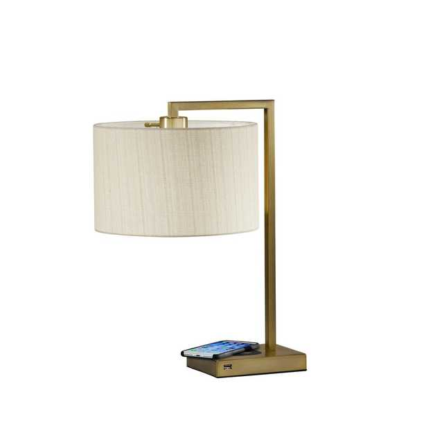 Austin Adessocharge 21 in. Brass Table Lamp - Home Depot