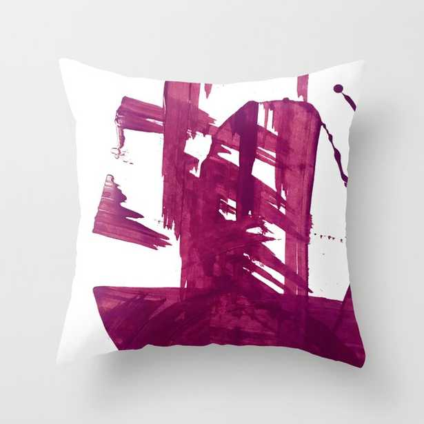 """Cranberry Brushstroke [1]: A Bold, Simple, Abstract Piece In Purple Couch Throw Pillow by Alyssa Hamilton Art - Cover (20"""" x 20"""") with pillow insert - Outdoor Pillow - Society6"""