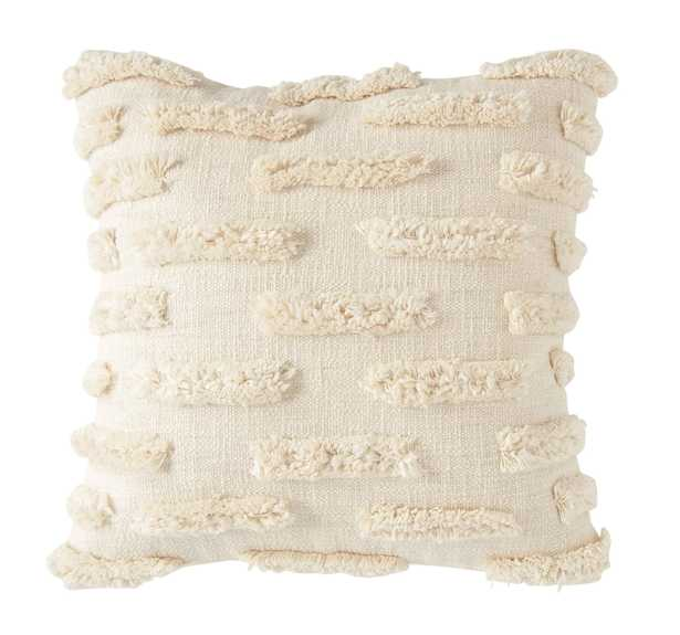 """Embroidered Pillow with Lines of Decorative Fringe, White Cotton, 20"""" x 20"""" - Nomad Home"""