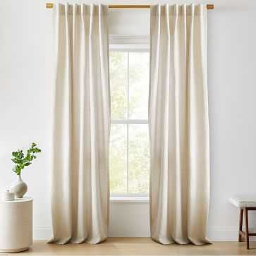 """European Flax Linen Curtain with Blackout Lining, Natural, 48""""x108"""" - West Elm"""