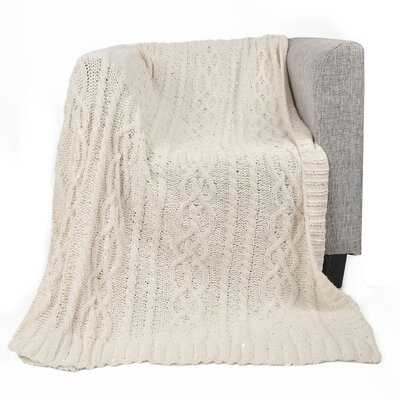 Keiran Luxury Sequin Soft Cable Knit Chenille Throw - Birch Lane
