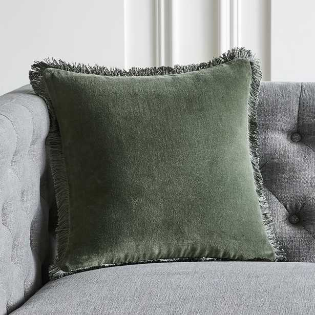 """16"""" Bettie Forest Green Pillow with Feather-Down Insert - CB2"""