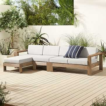 Portside Outdoor Right Arm 3-Piece Chaise Sectional, Driftwood - West Elm