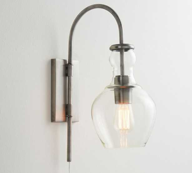 Flynn Recycled Glass Plug-In Sconce, Antique Nickel - Pottery Barn