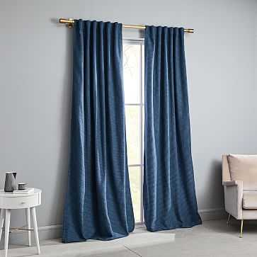 "Textured Weave Curtain, Shadow Blue, 48""x96"" - West Elm"