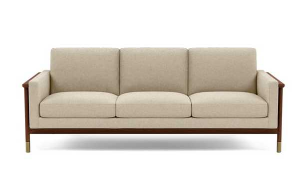 Jason Wu Sofa with Beige Oatmeal Fabric and Oiled Walnut with Brass Cap legs - Interior Define