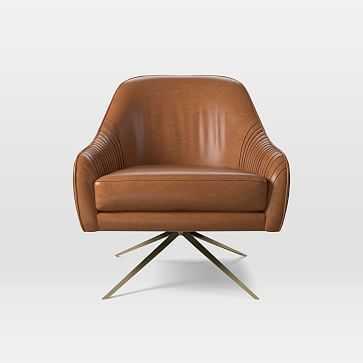 Roar & Rabbit Swivel Chair, Poly, Saddle Leather, Nut, Antique Brass - West Elm