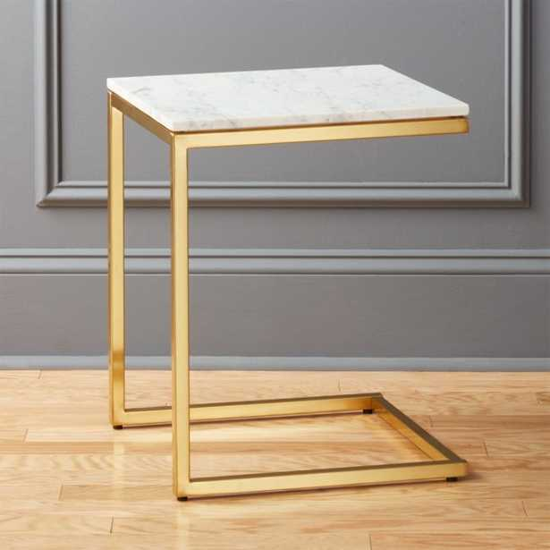 Smart Brass C Table with White Marble Top - CB2