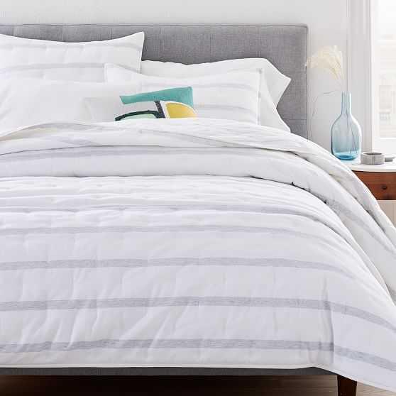 Washed Cotton Reversible Melange Stripe Quilt & King Sham, Heather Gray, King - West Elm