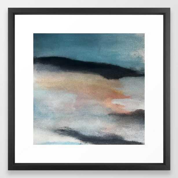Dawn: A Minimal Abstract Acrylic Piece In Pink, Blues, Yellow, And White Framed Art Print by Alyssa Hamilton Art - Vector Black - MEDIUM (Gallery)-22x22 - Society6