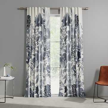 """Cotton Canvas Garden Corner Curtains, 48""""x96"""", Midnight - West Elm"""
