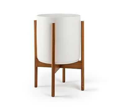 Modern Ceramic Planters with Wooden Stand, White - Small - Pottery Barn