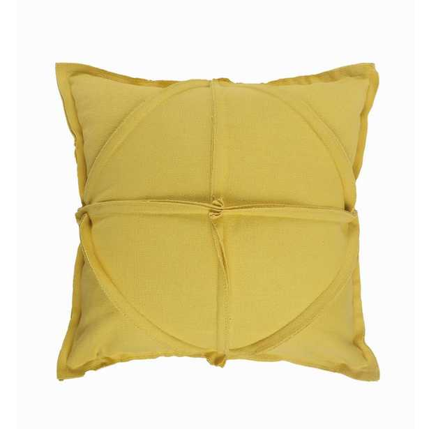 LR Home Solid Textured Mustard Yellow Geometric Cozy Poly-fill 20 in. x 20 in. Throw Pillow - Home Depot