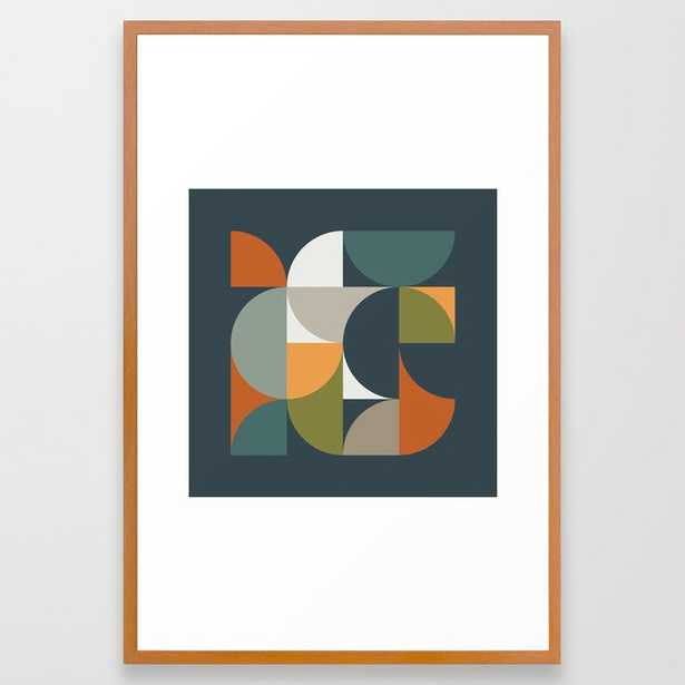 Mid Century Geometric 12/2 Framed Art Print by The Old Art Studio - Conservation Pecan - LARGE (Gallery)-26x38 - Society6