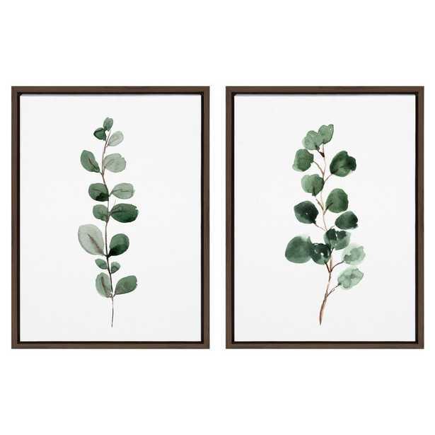 "Kate and Laurel Sylvie ""Eucalyptus"" by Maja Mitrovic Framed Canvas Wall Art Set, Brown - Home Depot"