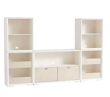 Callum Wall Extra Wide Drawer Base & Tower Set, Weathered White/Simply White, Flat Rate - Pottery Barn Kids