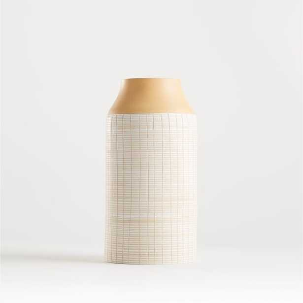 """Soto White Wood Vase 12"""" - Crate and Barrel"""
