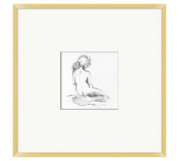 "Seated Figure Framed Print, 25"" x 25"" - Pottery Barn"