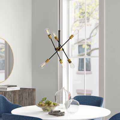 Everett 6 - Light Sputnik Modern Linear Chandelier - Bras/Black - Wayfair