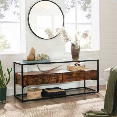 Glatal Tv Cabinet For Up To 55-inch Tvs, Tv Stand With 2 Drawers, Tv Console, Tempered Glass Top, Stable, For Living Room Bedroom Entertainment, Industrial, Rustic Brown And Black - Wayfair