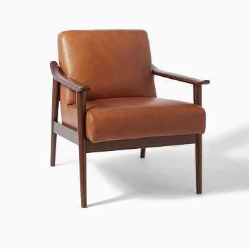 Midcentury Show Wood Leather Chair, Saddle/Espresso - West Elm