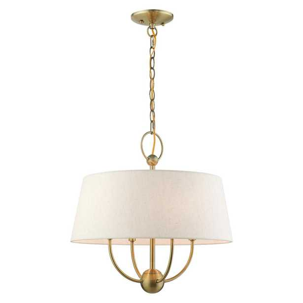 LIVEX LIGHTING Cartwright 4-Light Antique Brass Pendant Chandelier with Hand Crafted Hardback Shade with Oatmeal Outside & Inside - Home Depot