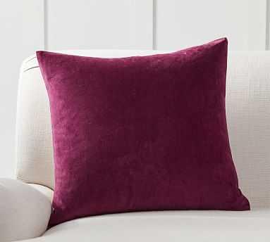 """Velvet w/ Linen Pillow Cover, 20"""", Bordeaux - Pottery Barn"""