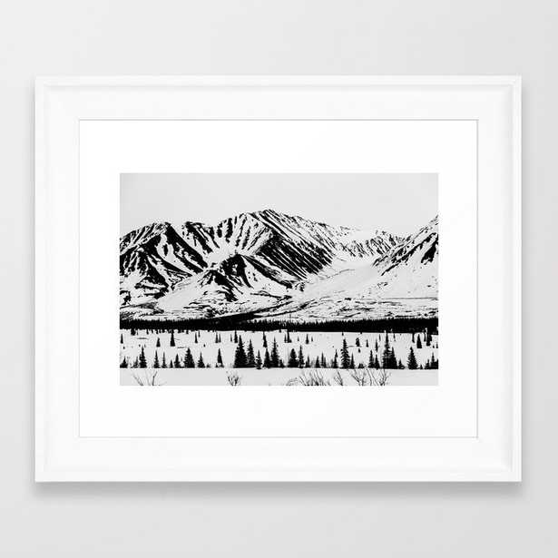 Black And White Mountains Framed Art Print by Hannah Kemp - Scoop White - X-Small-10x12 - Society6