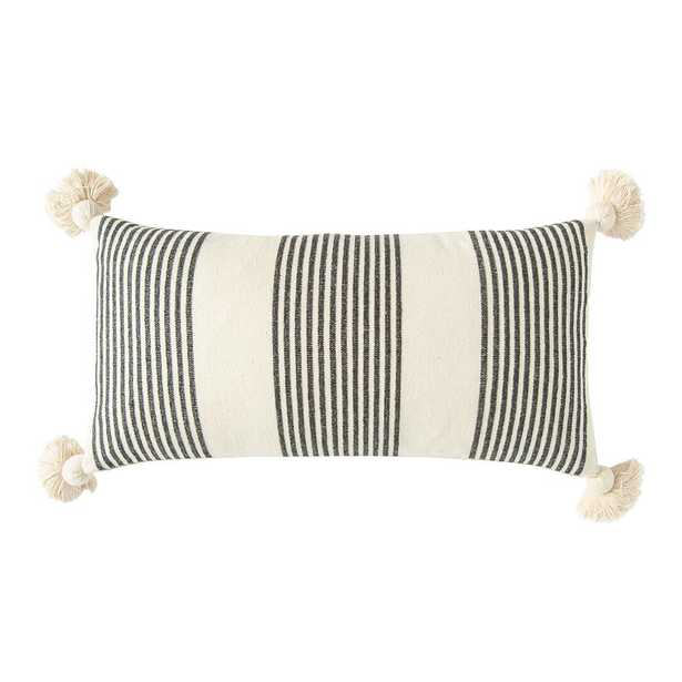 3R Studios Black Striped Cotton and Chenille 27 in. x 14 in. Throw Pillow - Home Depot