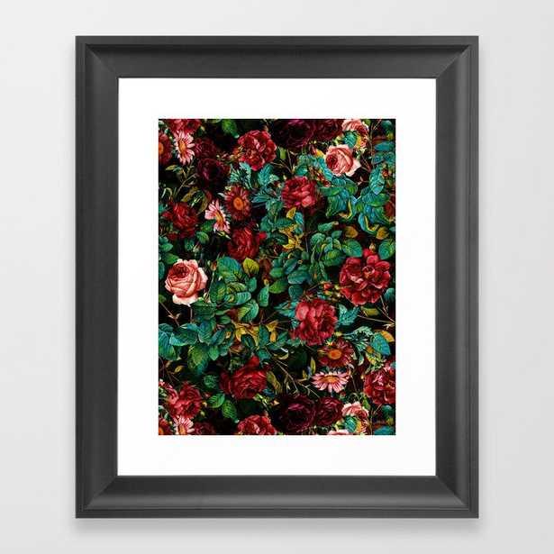 Rose Night Garden Framed Art Print by Burcu Korkmazyurek - Scoop Black - X-Small-10x12 - Society6