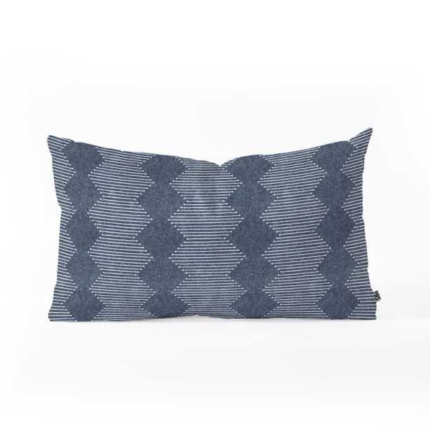 "Oblong Throw Pillow, Diamond Mud Cloth Navy, 26"" x 16"" - Wander Print Co."