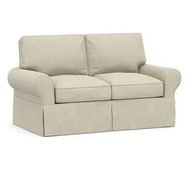 """PB Basic Slipcovered Loveseat 60.5"""", Polyester Wrapped Cushions, Chenille Basketweave Oatmeal - Pottery Barn"""