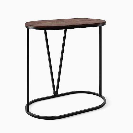 Rivera C-Table, Walnut, Antique Bronze - West Elm
