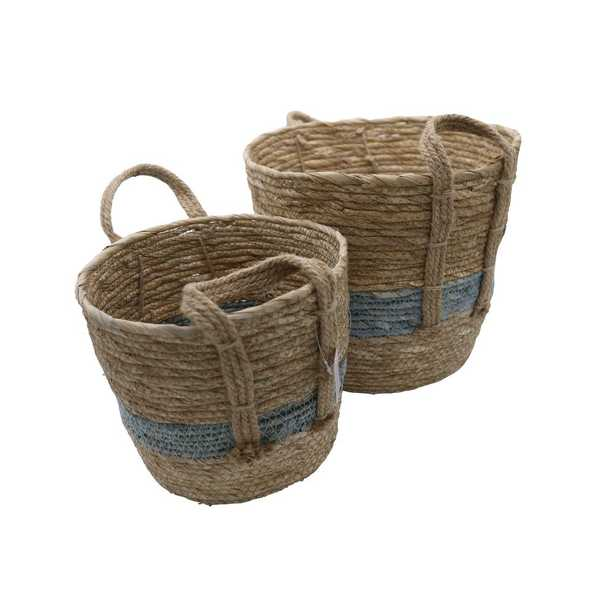 Admired By Nature Set of 2 Nesting Basket Seagrass Design for Blankets Toys with Handle Storage Bins. Natural Color with Blue tone, Multi Color - Home Depot