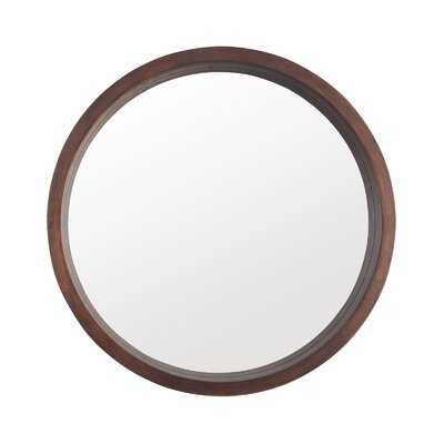 Wooden Structure Round Mirror, Round Modern Decoration Large Mirror, Used For Bathroom, Living Room And Bedroom Entrance, Walnut Color, 24 Inches - Wayfair