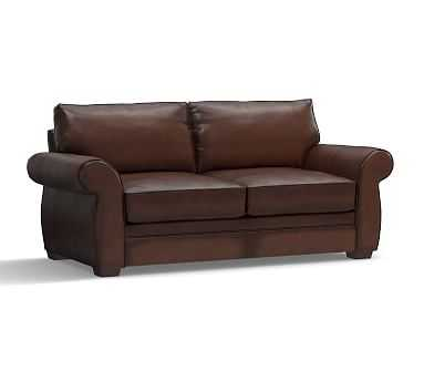 """Pearce Roll Arm Leather Sofa 81"""", Polyester Wrapped Cushions, Signature Adriatic Blue - Pottery Barn"""