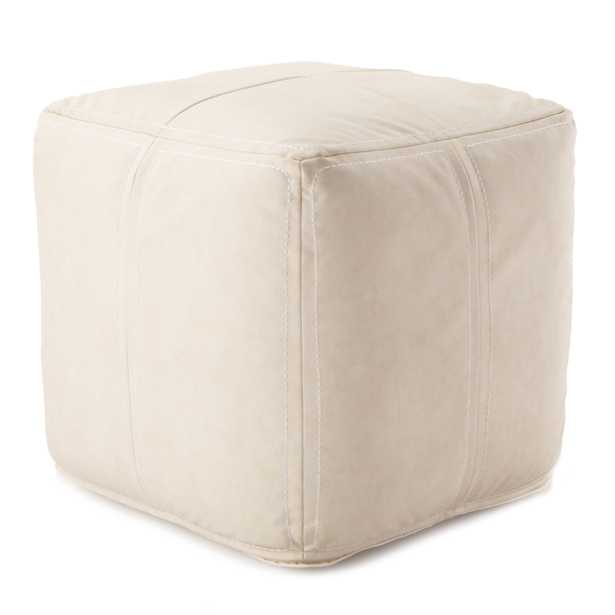 Nikki Chu by Suave Solid White Cube Pouf - Collective Weavers