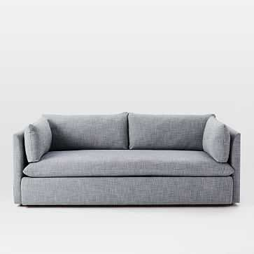 """Shelter 84"""" Sofa, Poly, Yarn Dyed Linen Weave, Graphite, Concealed Supports - West Elm"""