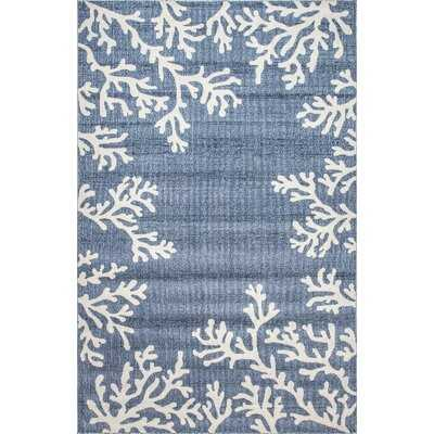 Summerfield Floral Blue/White Indoor / Outdoor Area Rug - Wayfair