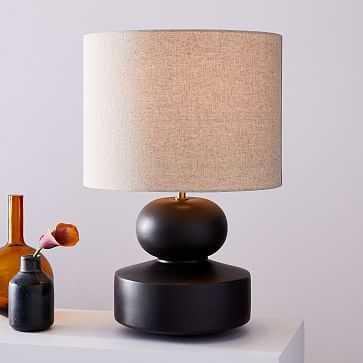 Modern Totem Table Lamp, Wide, Black-Individual - West Elm