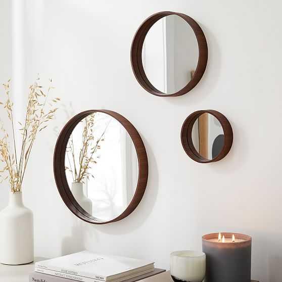 Maren Wood Mirrors, Walnut, Set of 3 - West Elm