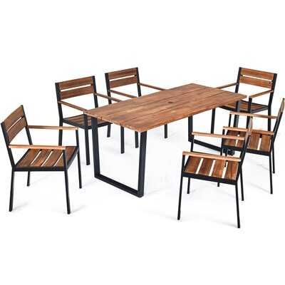 7 Pcs Outdoor Patio Dining Table Set With Hole - Wayfair