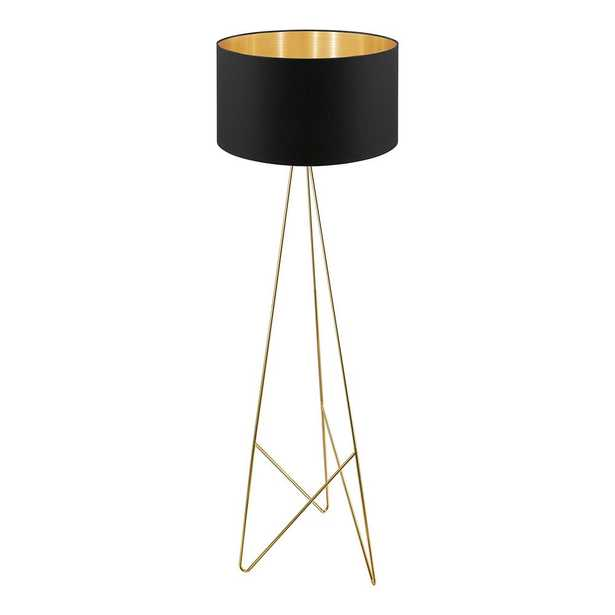 Eglo Camporale 60.63 in. Gold Floor Lamp with Black/Gold Fabric Shade - Home Depot