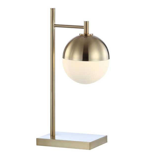 """JONATHAN Y Marcel 21"""" Iron/Glass Art Deco Mid-Century Globe LED Table Lamp, Brass-Gold - Home Depot"""